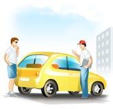 O homem escolhe o carro usado ilustração stock