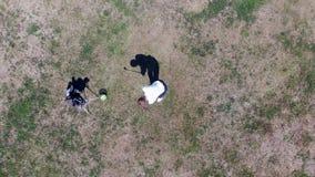 O homem está golpeando uma bola de golfe no gramado empoeirado video estoque