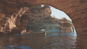 O homem está navegando na caverna do mar Fotografia de Stock Royalty Free