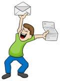 O homem está feliz sobre a boa notícia Fotografia de Stock Royalty Free