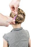 O homem faz a criança do penteado Imagens de Stock Royalty Free
