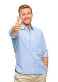 O homem feliz manuseia acima do retrato do sinal no backgroun branco foto de stock royalty free