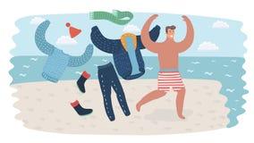 O homem feliz no corredor do feriado decola sua roupa à linha de flutuação de mar na ilustração de viagem do seacoast para seu pr ilustração royalty free