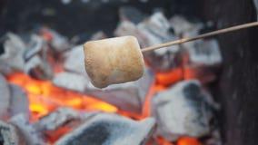 O homem frita marshmallows nos carvões exteriores O marshmallow em espetos é fritado na estaca Marshmallows brindados em carvões  filme