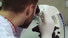 O homem gerencie o botão do ajuste grosseiro no microscópio no laboratório fotografia de stock royalty free