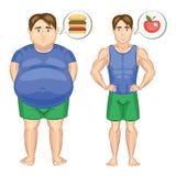 O homem gordo com Hamburger e homem magro com maçã Fotografia de Stock