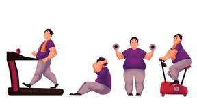 O homem gordo que faz o esporte exercita no fundo branco Foto de Stock Royalty Free