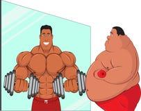 O homem gordo vê possibilidades no espelho Fotografia de Stock Royalty Free