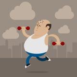 O homem gordo vai dentro para esportes Fotografia de Stock