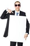 O homem guarda o cartaz. Imagens de Stock