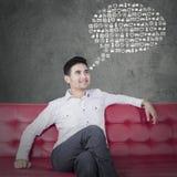 O homem imagina ícones da Web Fotos de Stock