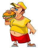 O homem inchado desenhos animados come um Hamburger Fotos de Stock Royalty Free