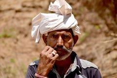O homem indiano da vila do bigode foto de stock