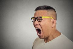 O homem irritado fora mijado desagradado louco com vidros abre a boca que grita Imagens de Stock Royalty Free