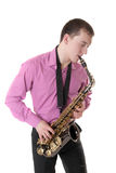 O homem joga um saxofone Imagem de Stock