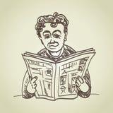 O homem lê a notícia ilustração royalty free