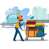 O homem leva o trole com bagagem para carregar no avião, no transporte das malas de viagem e nos sacos do curso por assistentes e Foto de Stock Royalty Free