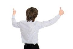 O homem levantou suas mãos na admiração Imagens de Stock