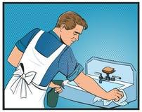 o homem limpa a banda desenhada do pop art do dissipador Imagem de Stock Royalty Free