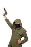 O homem mascarado no conceito criminoso no branco Fotografia de Stock Royalty Free