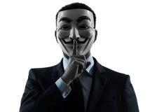 O homem mascarou o membro anônimo do grupo que acalenta o retrato da silhueta Imagens de Stock