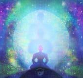 O homem medita, ioga ilustração stock