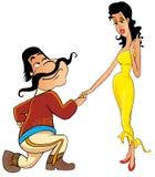 O homem mexicano convida a senorita a uma dança. Imagens de Stock
