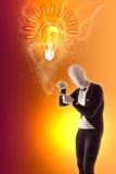 O homem mimica o FAQ do bulbo dos presentes Fotografia de Stock Royalty Free