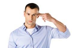 O homem mostra o gesto da arma da mão Imagem de Stock Royalty Free