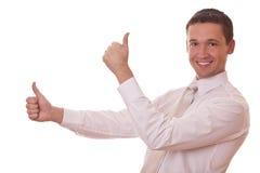 O homem mostra o sinal bom Foto de Stock