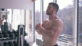 O homem muscular do esporte desencapado-chested com corpo atlético faz o aquecimento após o treinamento da força no músculo da co video estoque