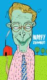 O homem não observou como morreu e transformou em um zombi Continua a estar feliz O que quer que acontece, esteja feliz! ilustração do vetor