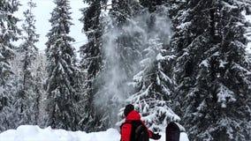 o homem na floresta nevado joga a neve video estoque