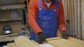 O homem na oficina toma a fita métrica e mede as placas de madeira processadas video estoque