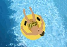 O homem na tubulação amarela na associação Entretenimento do verão Textura da associação de água Ilustração do vetor ilustração do vetor