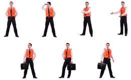 O homem no colete salva-vidas isolado no branco fotos de stock royalty free