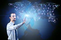O homem no conceito social das redes Imagens de Stock
