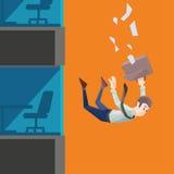O homem no desgaste do escritório cai de uma construção Foto de Stock Royalty Free