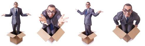 O homem no pensamento fora do conceito da caixa Foto de Stock Royalty Free