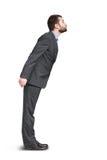 O homem no terno cinzento quer beijar fotografia de stock royalty free