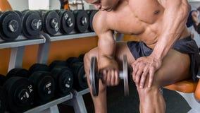 O homem novo atrativo está exercitando com ferro pesado video estoque