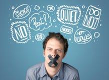 O homem novo com boca colada e pensamento nubla-se Imagens de Stock Royalty Free