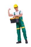 O homem novo com a caixa de ferramentas do conjunto de ferramentas isolada no branco Imagem de Stock Royalty Free