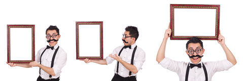 O homem novo com o quadro isolado no branco Fotos de Stock