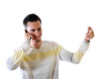 O homem novo com telefone imagem de stock royalty free