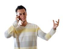 O homem novo com telefone foto de stock