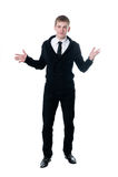 O homem novo em um casaco de lã preto Fotografia de Stock