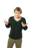O homem novo está fazendo um gesto imagem de stock