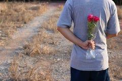 O homem novo está guardando um ramalhete de rosas vermelhas bonitas em sua parte traseira no fundo borrado campo Datar do romance Foto de Stock