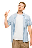 O homem novo feliz tem uma ideia Fotografia de Stock Royalty Free